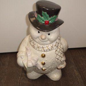 Lenox snowman cookie jar Christmas holidays